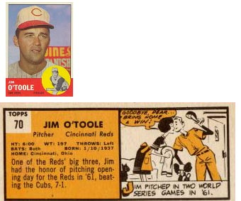 1963 jim o'toole topps back