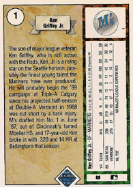 ken griffey jr 1989 upper deck back bio